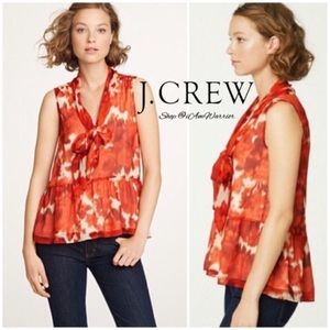 J. Crew rose floral watercolor silk scarf blouse